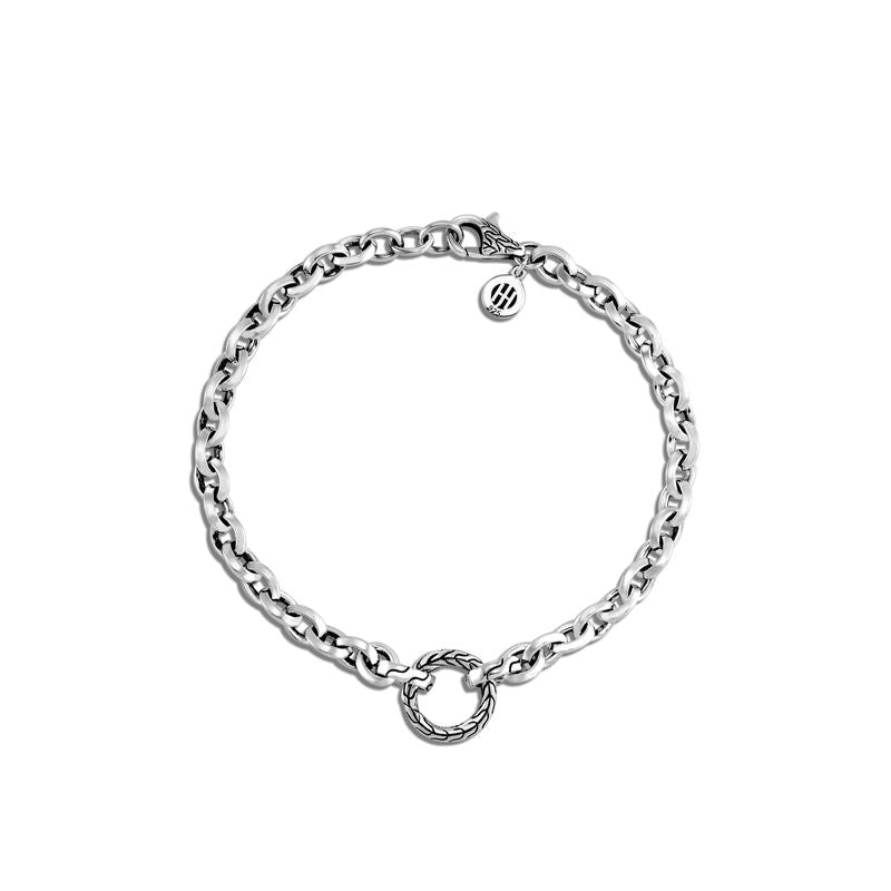 Classic Chain Knife Edge Amulet Connector Bracelet