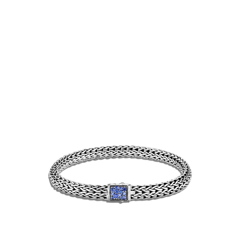 Classic Chain 6.5MM Reversible Bracelet with Blue Sapphire and Diamond