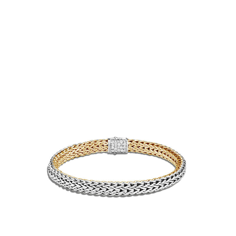 Classic Chain 6.5MM Reversible Bracelet in Silver and 18kt Yellow Gold