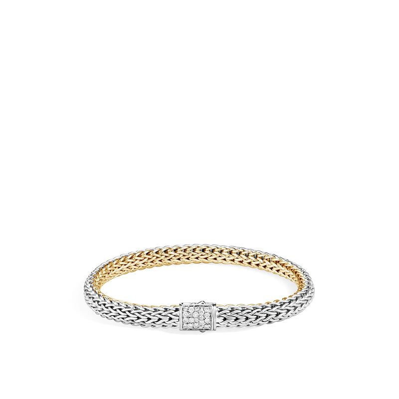 Classic Chain 6.5MM Reversible Bracelet in Silver and 18kt Yellow Gold with Diamonds