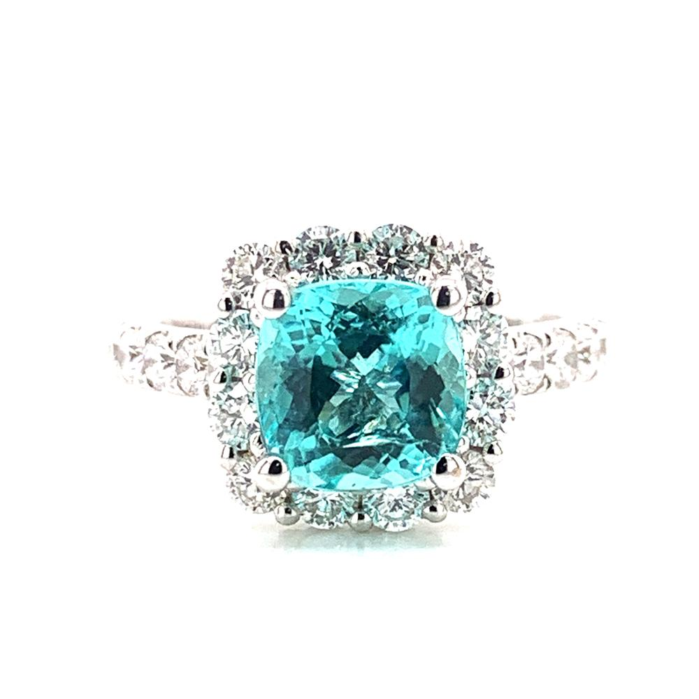 18kt White Gold gold ring with a GIA certified Paraiba tourmaline ring