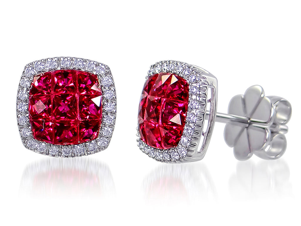 1.21Cts Ruby and Diamond Earrings In 18Kt White Gold