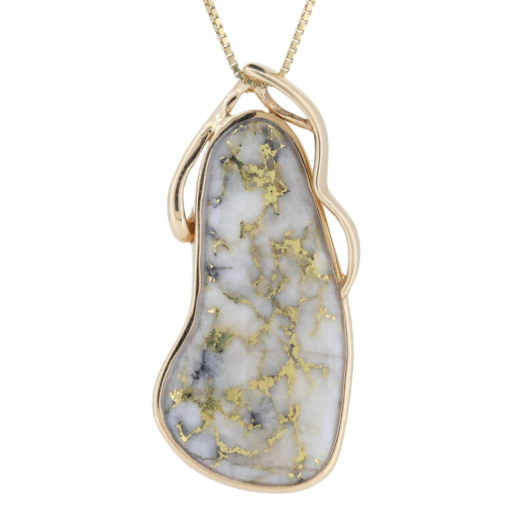 14K Yellow Natural Gold Quartz Free Form Bezel Pendant