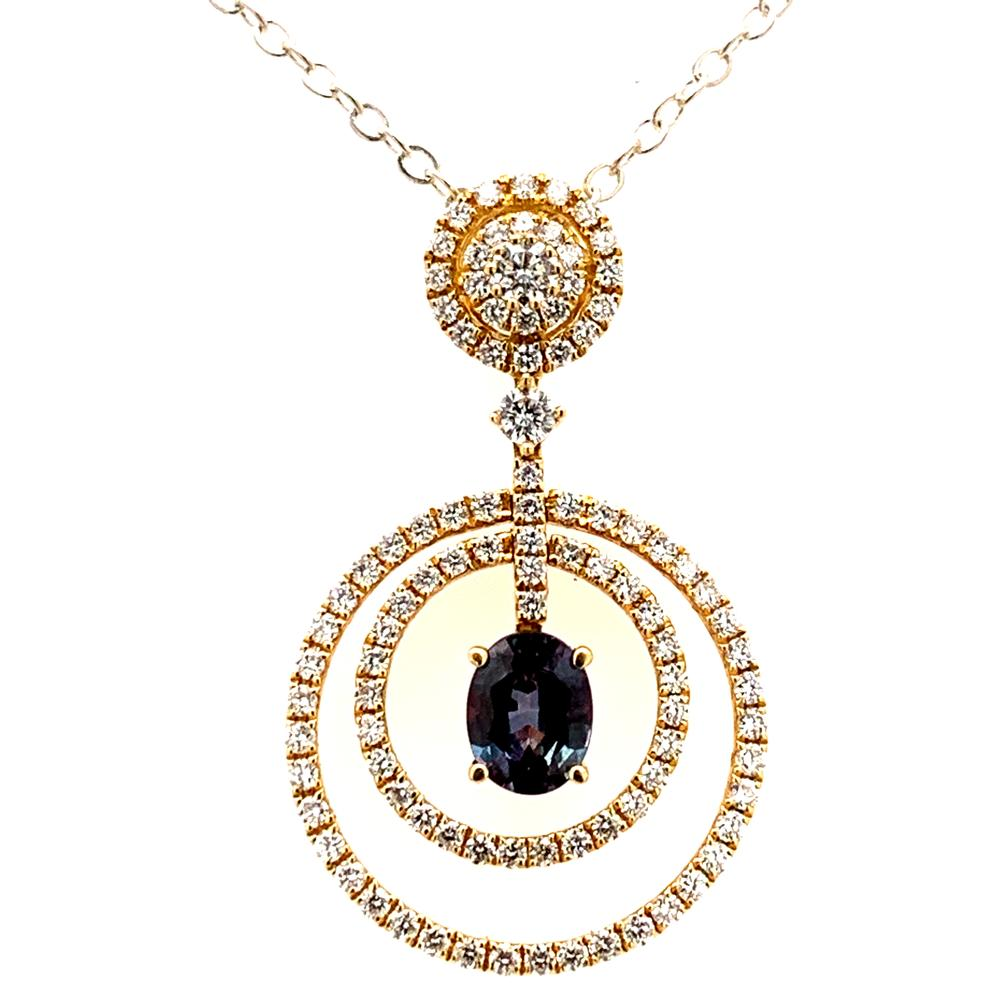 18k yellow gold pendant with a GIA certified alexandrite