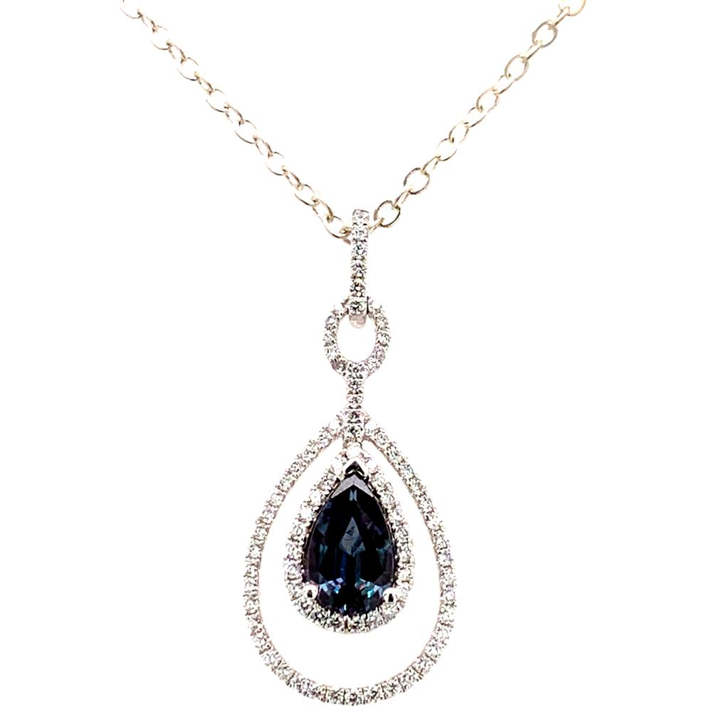 18kt White Gold gold pendant with an IGI certified alexandrite