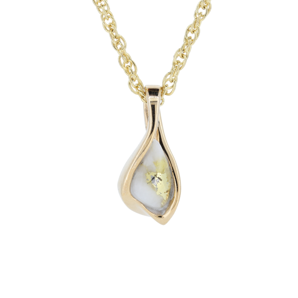 14K Yellow Orocal Gold Quartz Pendant