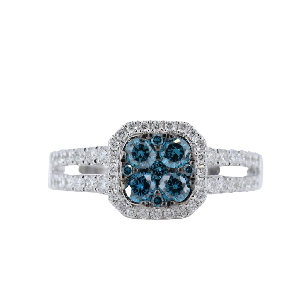 Beautiful Four Blue Diamond Ring