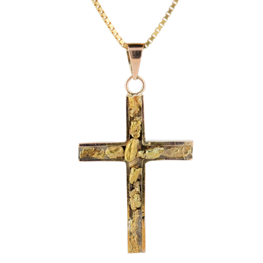 Natural Gold Nugget Cross Pendant In 14K Yellow Gold.