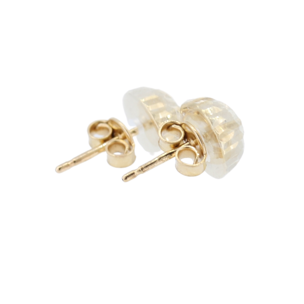 14Kt Yellow Gold Textured Diamond Cut Ball Stud Earrings