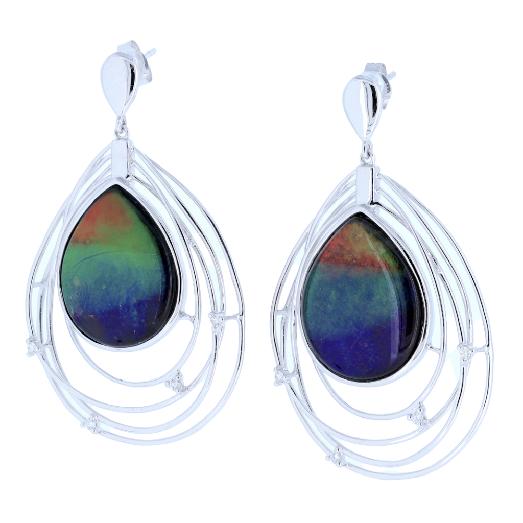 14K White Gold Tear Drop Shape Ammolite Diamond