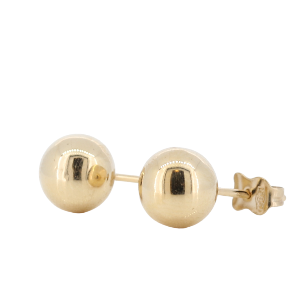 14K Yellow Gold Ball Stud Earrings In High Polish Tone