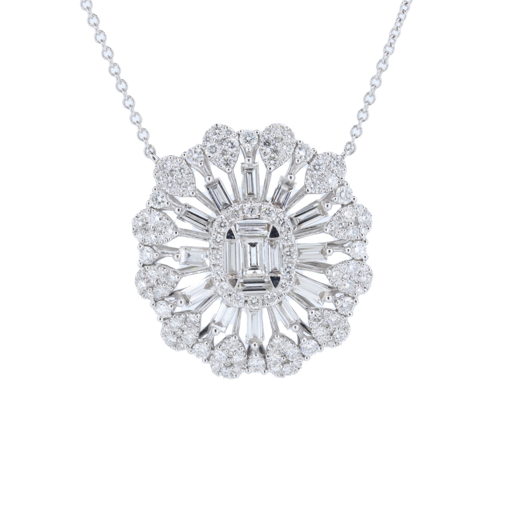 18Kw Baguette And Round Diamond Necklace