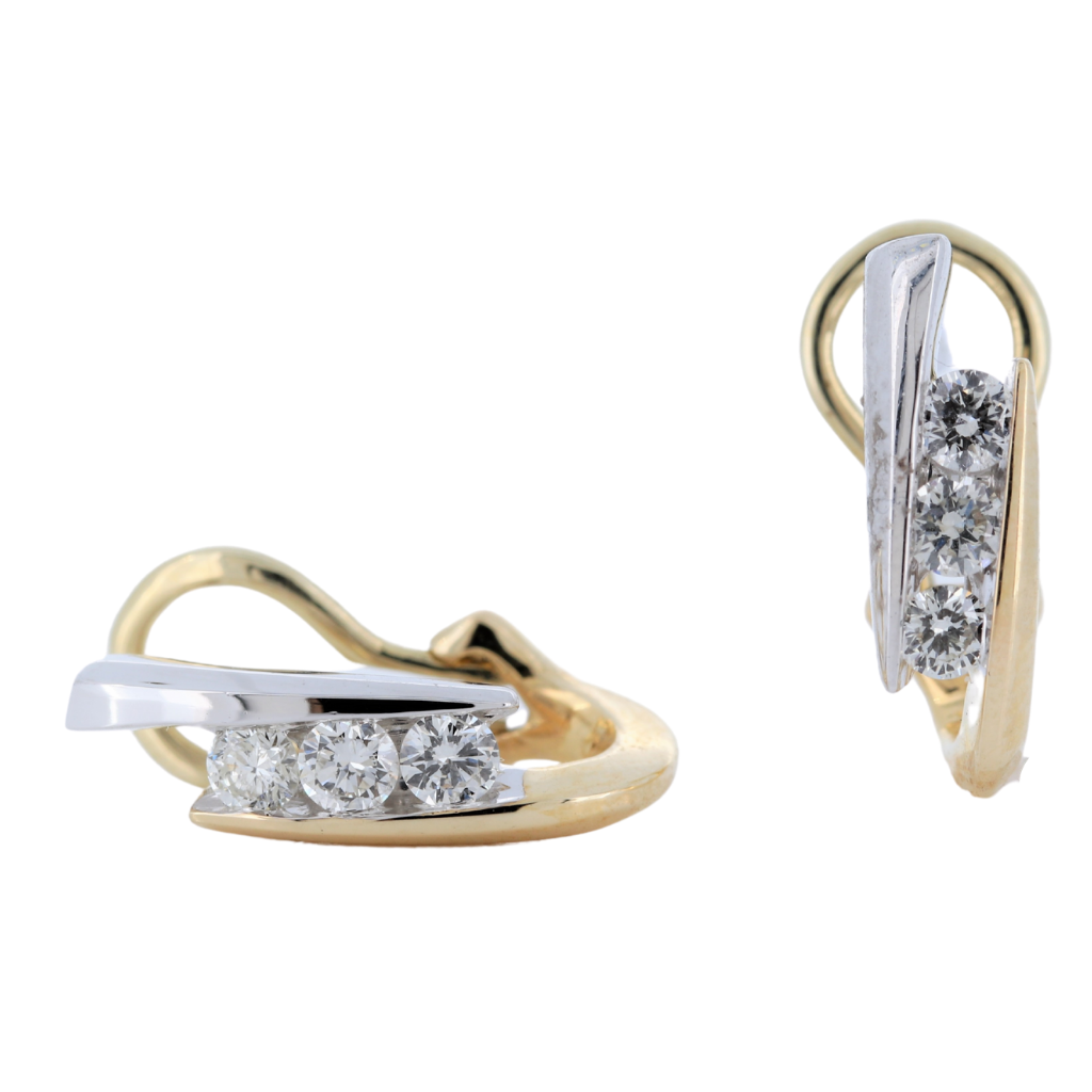 Bypass Earrings with 0.44ctw Diamonds in 14K Two Tone Gold