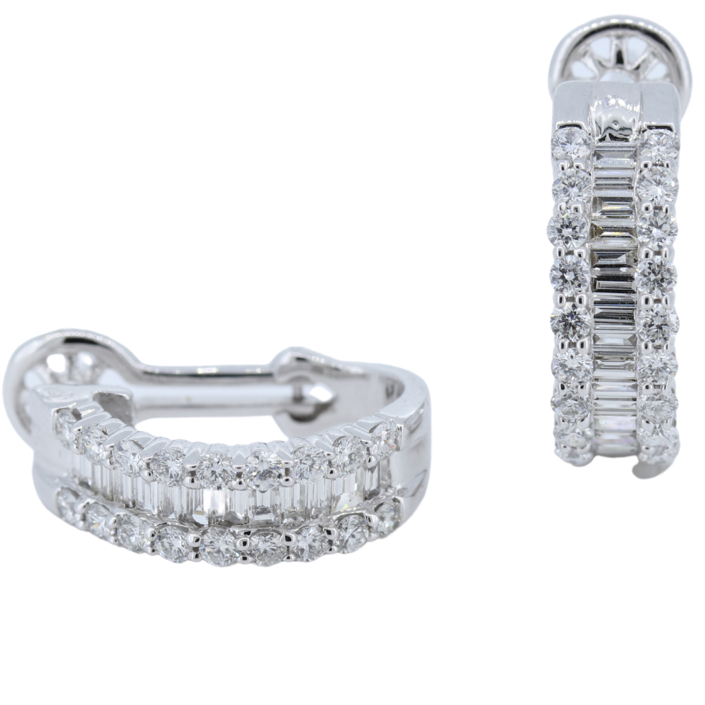 Round And Baguette 1.39ctw Diamond Earrings in 14K White Gold