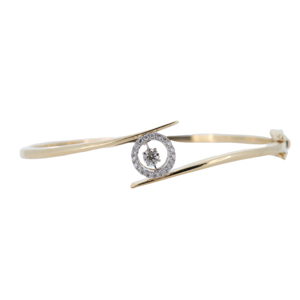 14K Two Tone 0.36ctw Diamond Bangle With Moving Center Diamonds And Diamond Halo