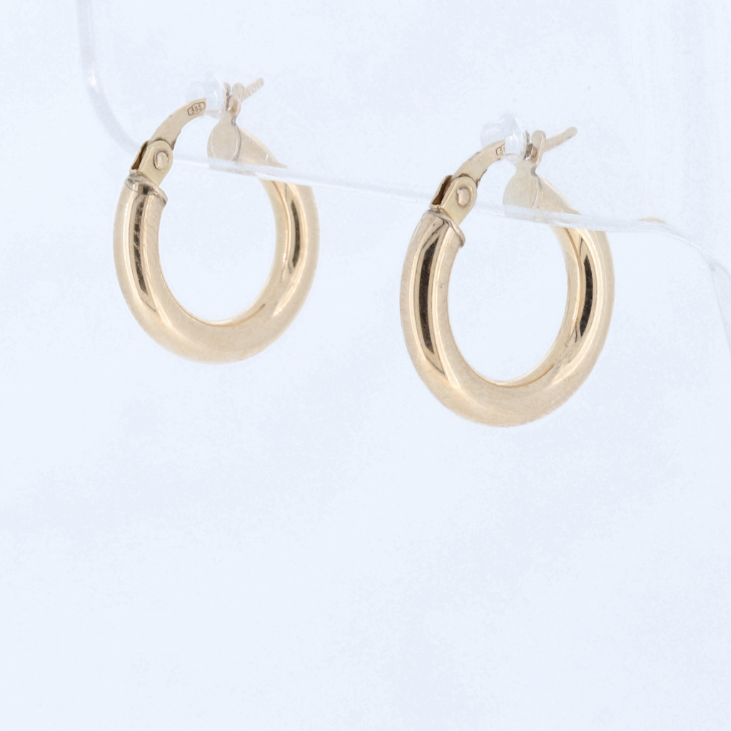 14K Yellow Gold Shine Polished Hoop Earrings