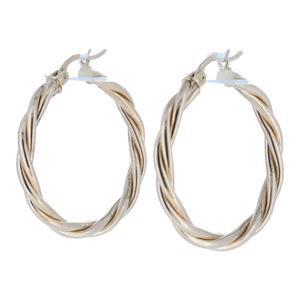 14K Yellow Gold Twisted Gold Hoops, 4 Grams