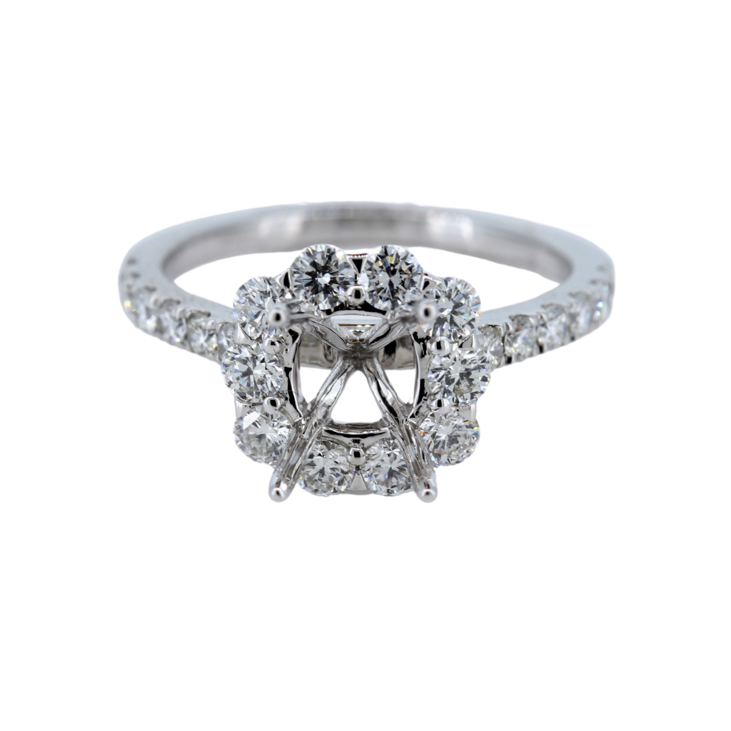 18Kw 1.15Ct Ladies Halo Diamond Semi Mount