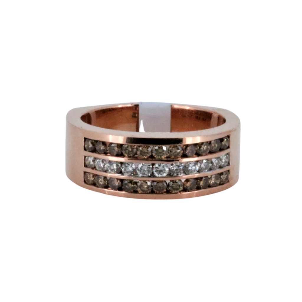 Fancy Choco and White Diamond Rose Gold Ring