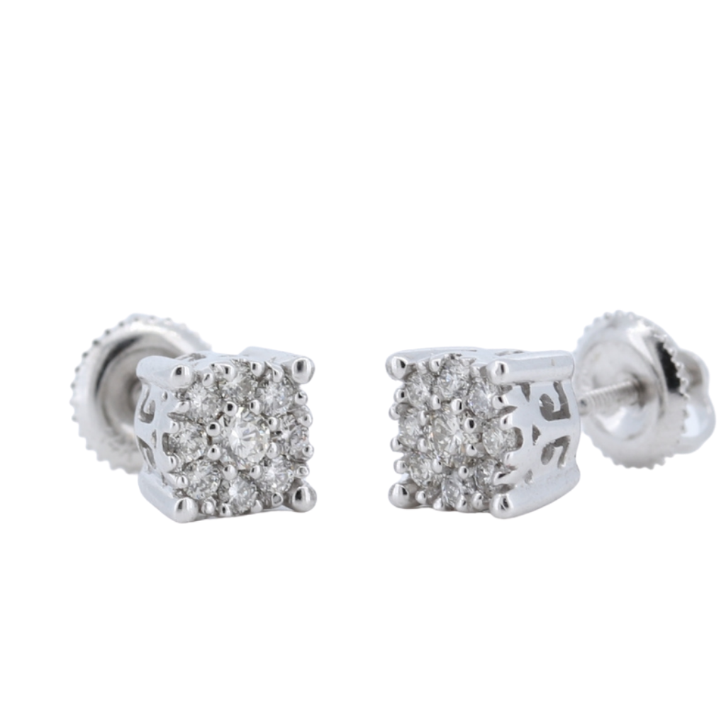 0.47ctw Diamond Cluster Earrings in 14K White Gold