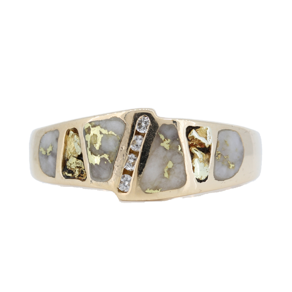 14K Yellow Gold Quartz Orocal Brand Ring With 0.08Ct Diamonds