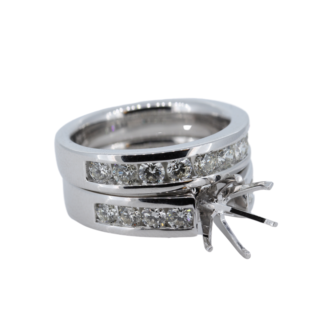 Channel Set 1.49ctw Diamond Semi-Mount With Matching Diamond Band set in 14Kt White Gold