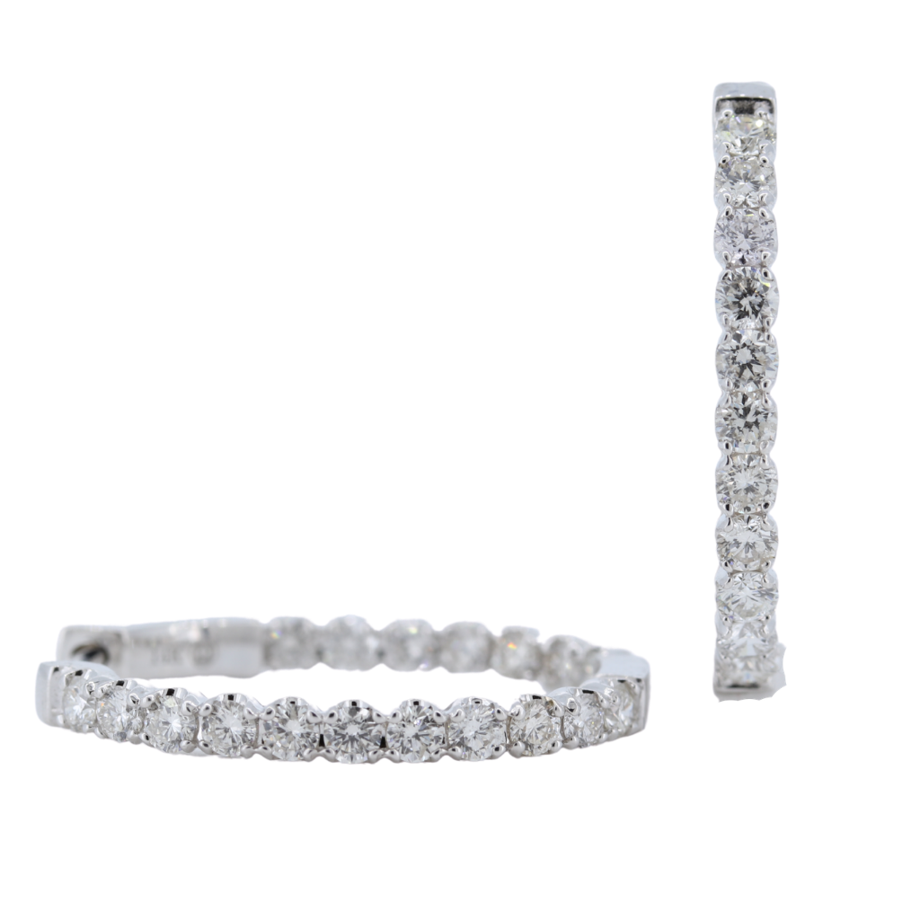 Inside-Out 2.00ctw Diamond Hoop Earrings in 14K White Gold