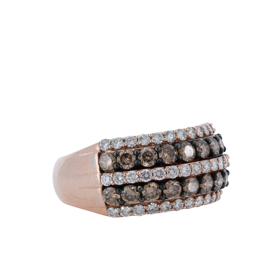 5 Row 1.23ctw Choco Diamond Ring in 14K Rose Gold