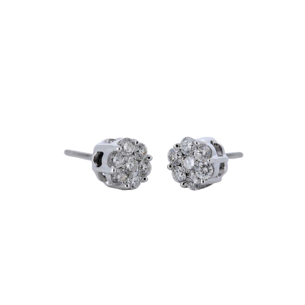 0.52ctw Diamond Floral Stud Earrings in 14K White Gold