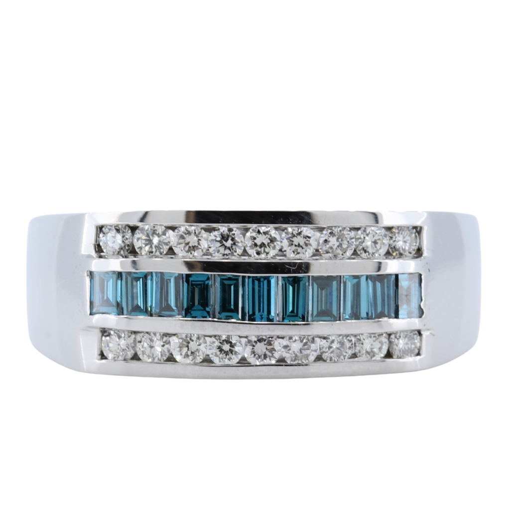 1.13 Carat White and Blue Diamond Mens Ring in 14k White Gold