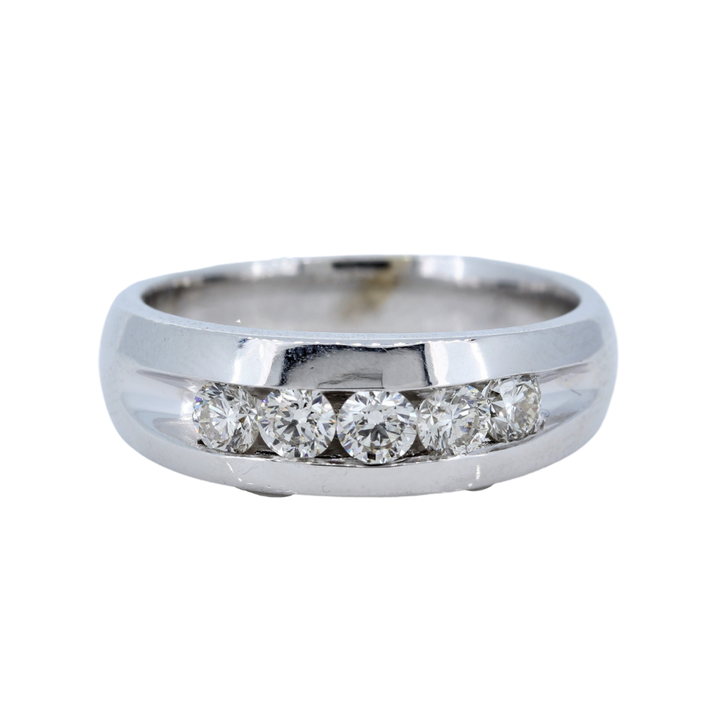 5 Stone Men's Channel 0.93ctw Diamond Band in a 14Kt White Gold Setting