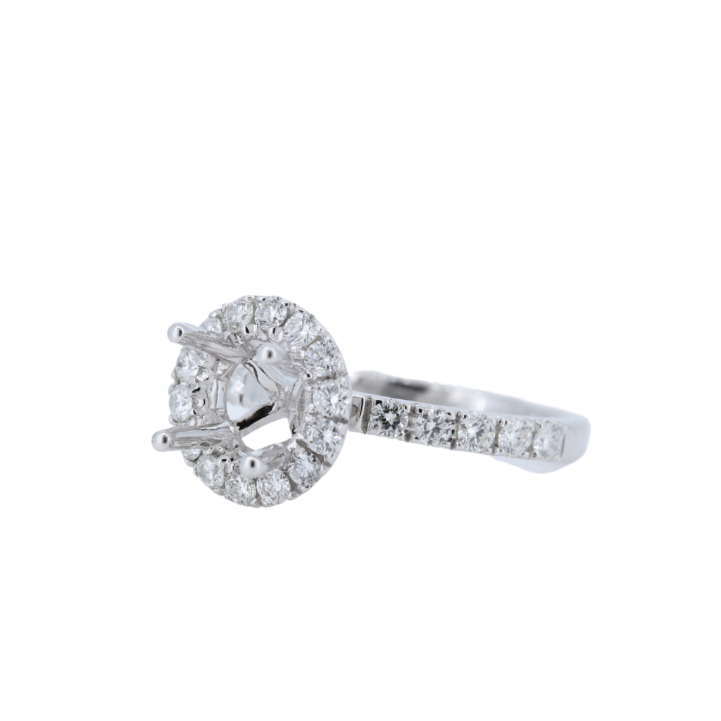 14kt White Gold Semi Mount set in Halo Style with 0.64ct of Diamonds