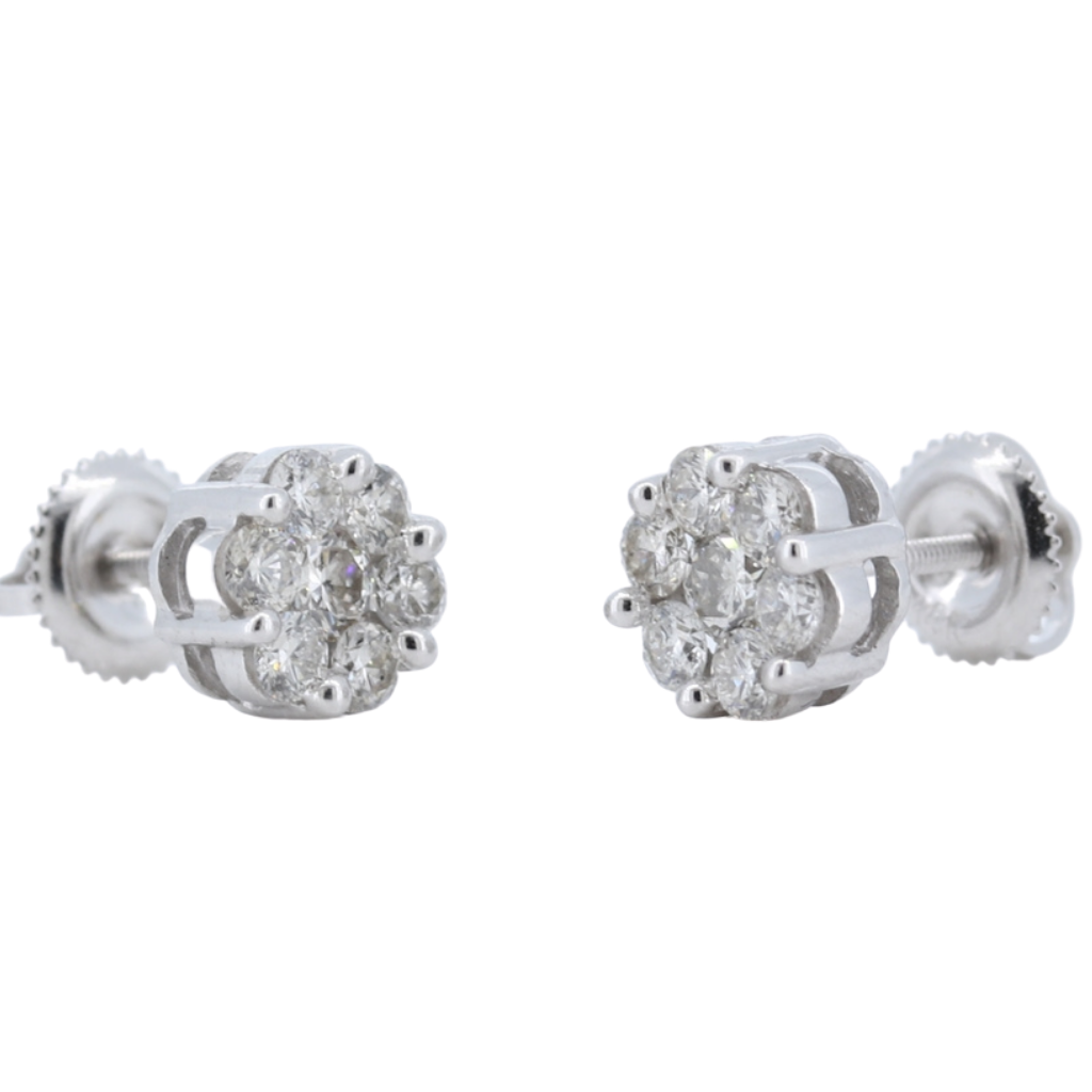 0.88ctw Diamond Floral Stud Earrings in 14K White Gold