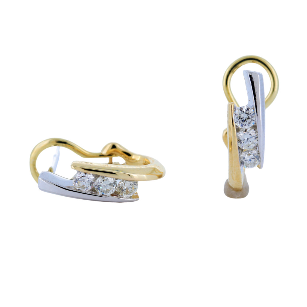 Bypass Earrings with 0.42ctw Diamonds in 14K Two Tone Gold