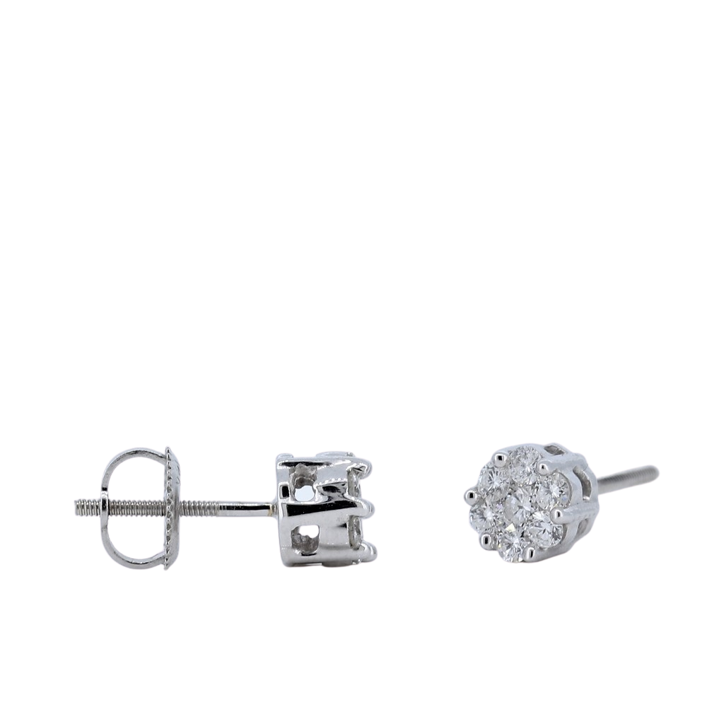 0.46ctw Diamond Floral Stud Earrings in 14K White Gold