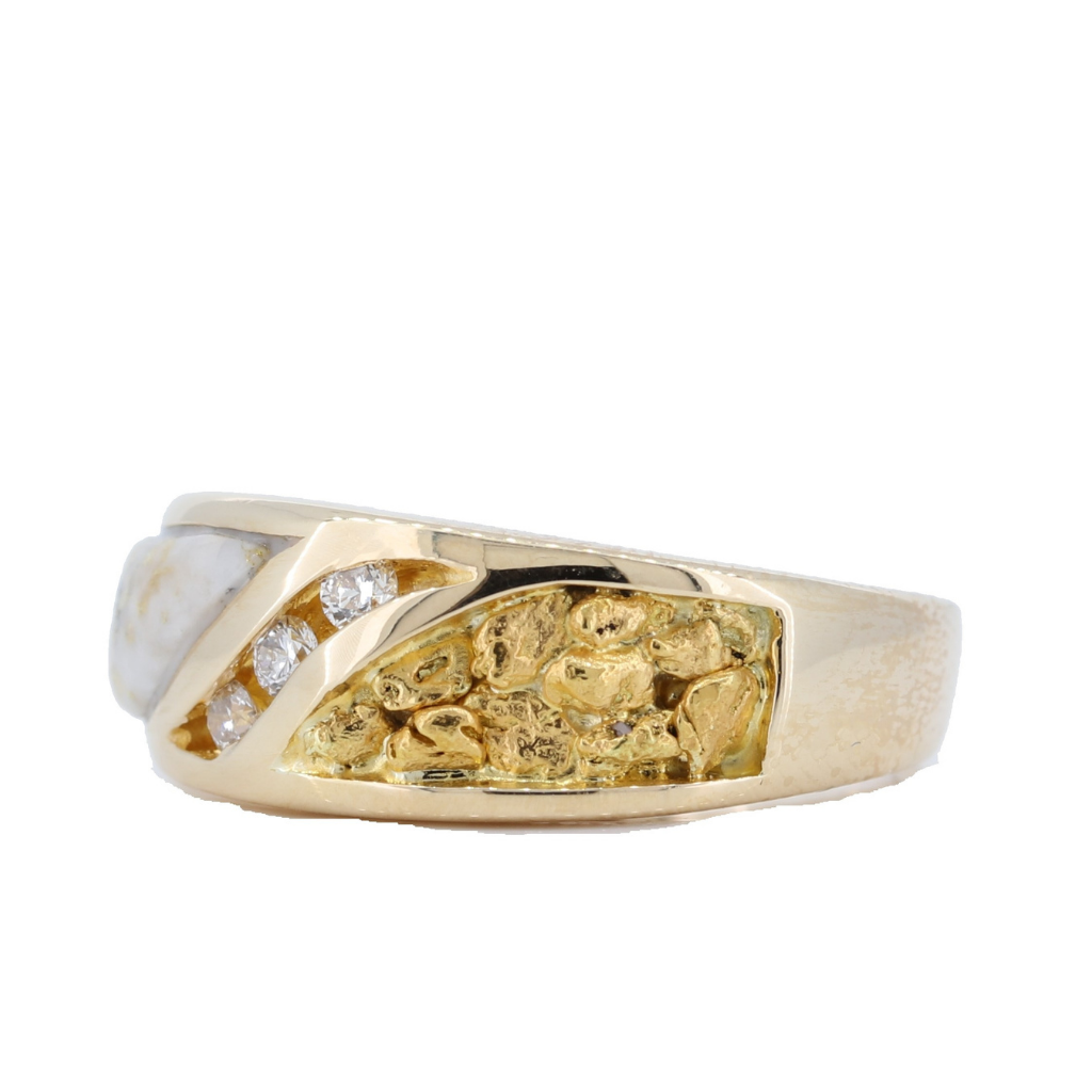 14K Yellow Gold Quartz & Gold Nuggets Inlay Ring With 0.09Ct Diamonds
