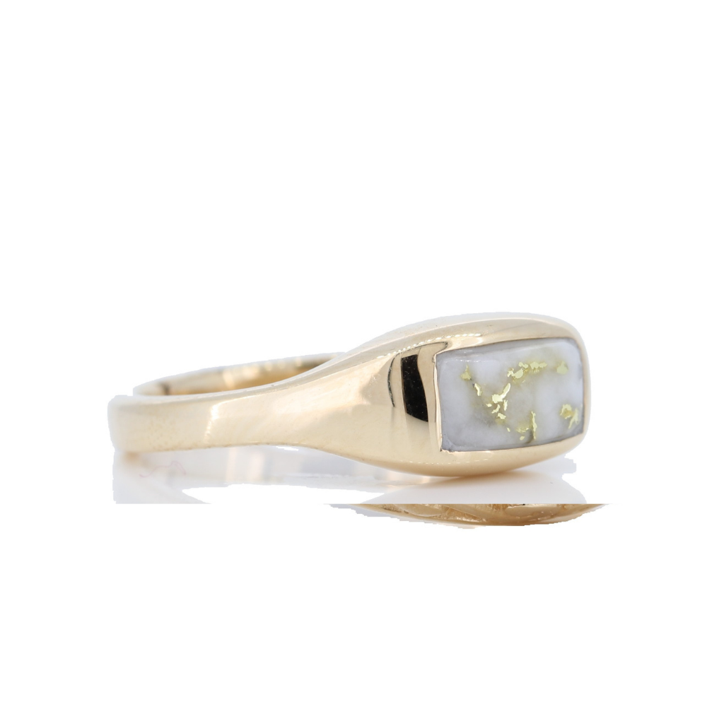14K Yellow Gold Quartz Vintage Marquise Ring
