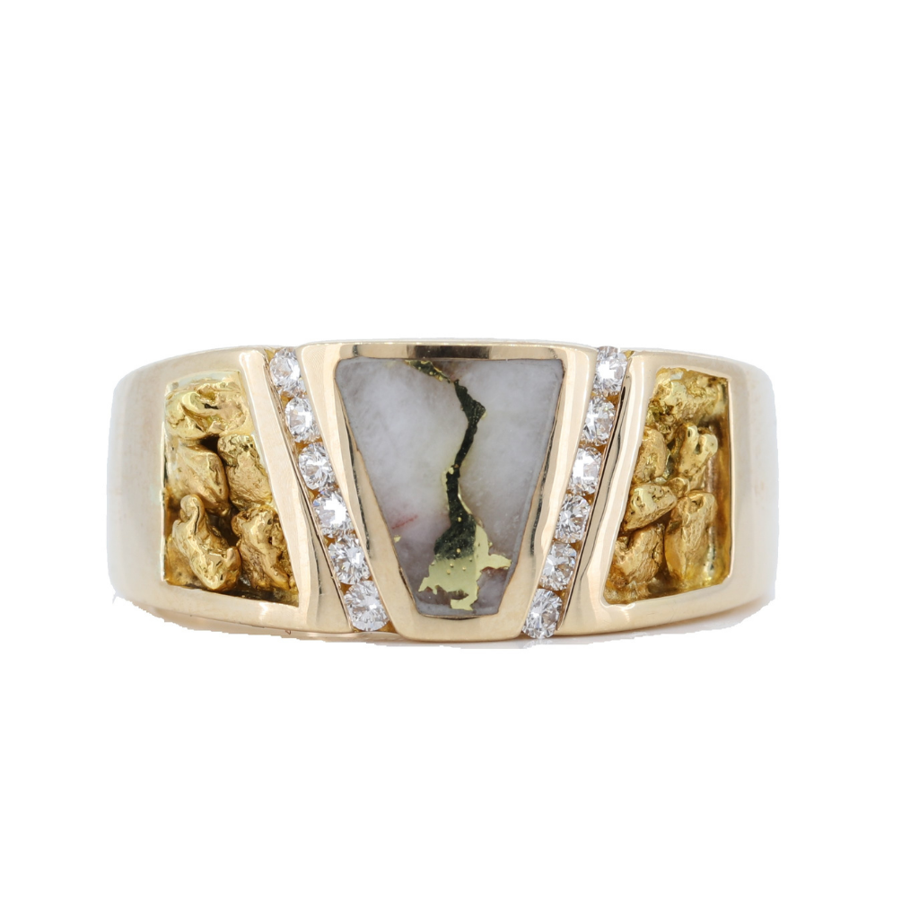 14K Yellow Men's Gold Quartz & Gold Nugget Ring With 0.24Ct Diamonds