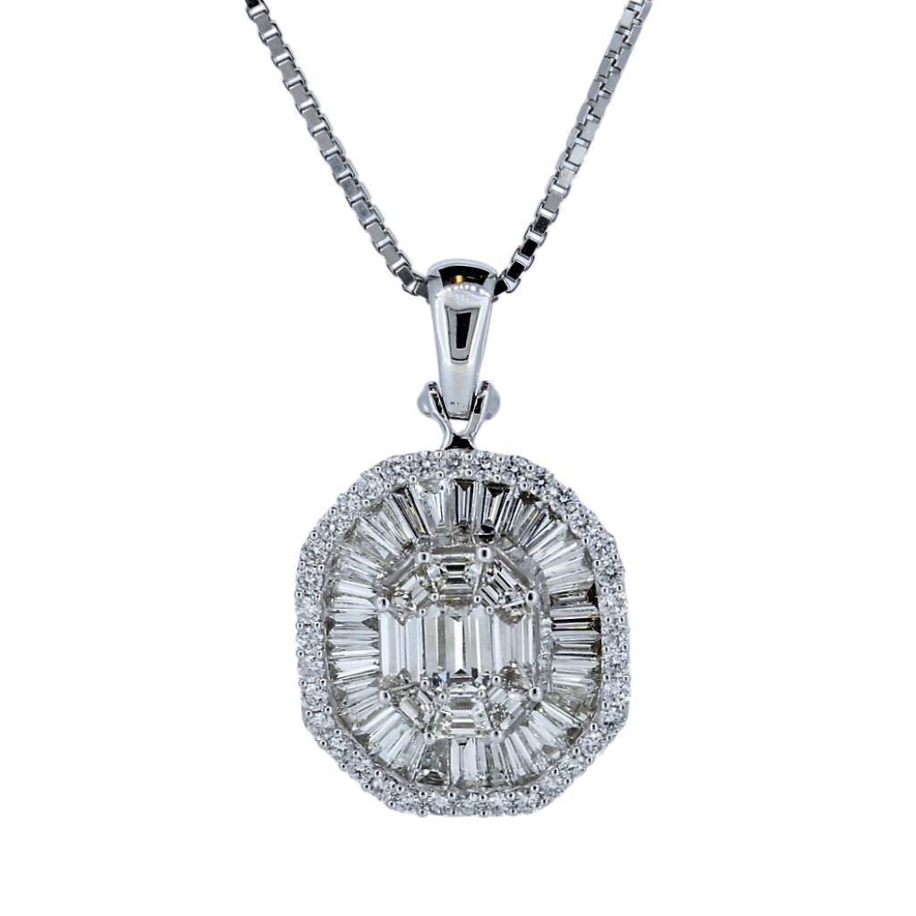 Diamond Cluster Pendant With Round And Step Cut Baguette Diamonds In 14Kt White Gold