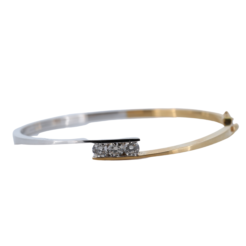 Three Stone Diamond Bypass Style Bangle. 14Kt Two-Tone Gold
