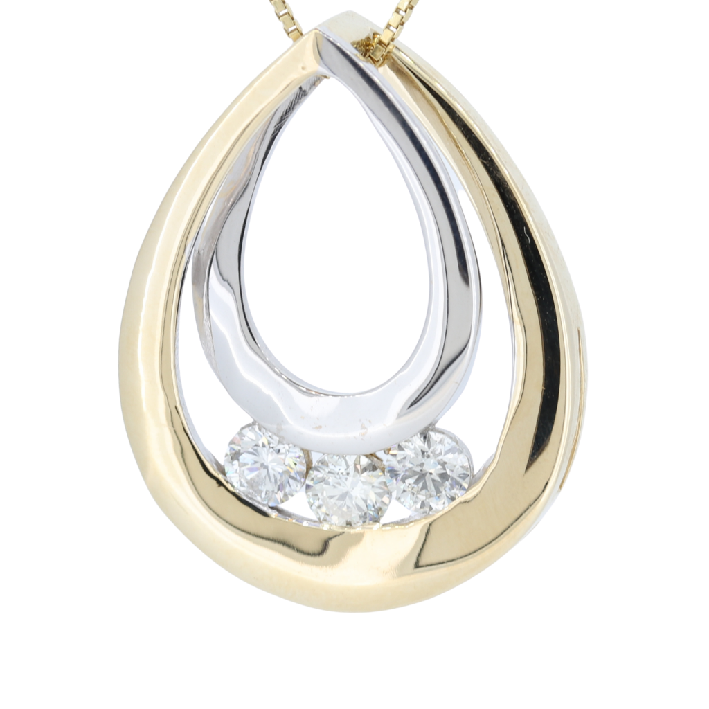 14Kt Tear-Drop Shaped Two-Tone 3 Diamond Channel Set Pendant