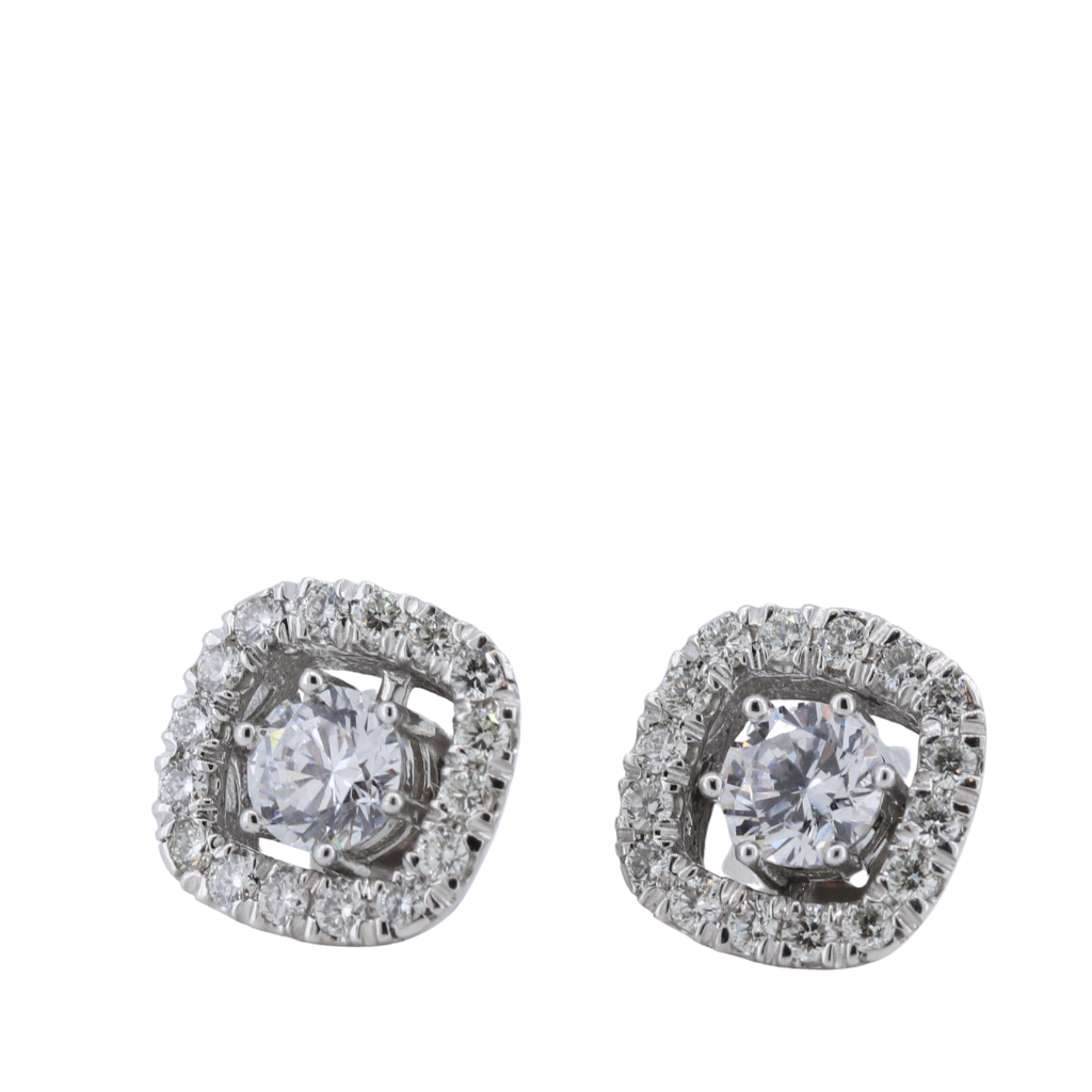 14K White Gold Diamond Jackets - Diamonds 0.61ctw
