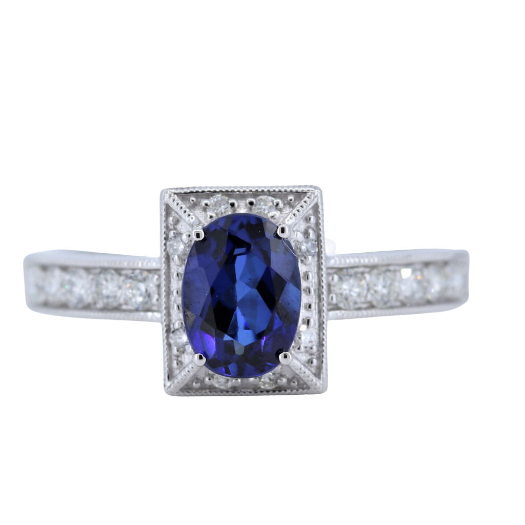 1 Carat Sapphire Ring w Diamond halo in 14kt White Gold