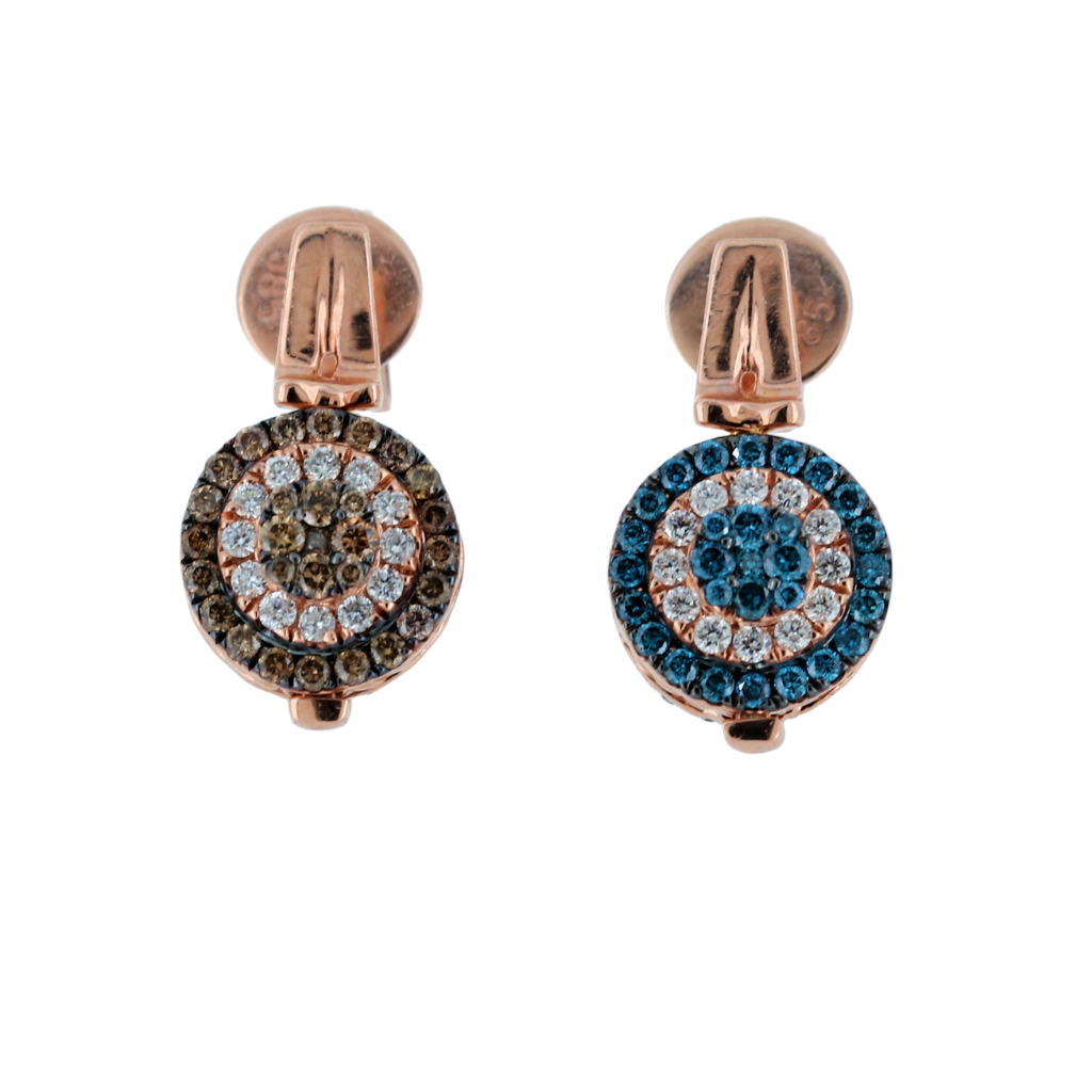 14Kt Rose Gold Brown And Blue Diamond Flip Earrings