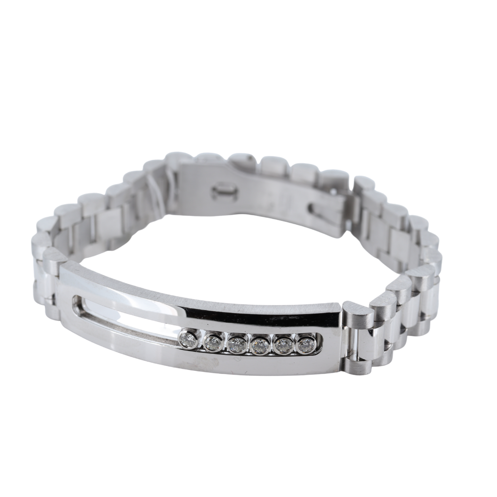 Men's Id Bracelet With Floating Diamonds, 14Kt White Gold