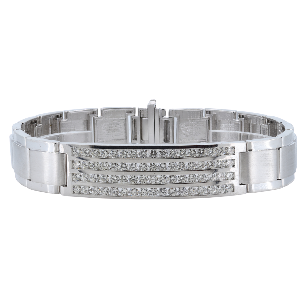 Men's 4.85 Carat Diamond Id Flexible Bracelet, 14Kt White Gold