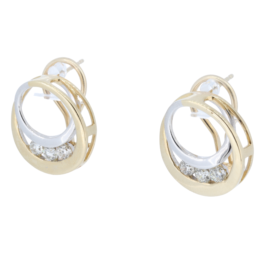 14K Two-Tone Gold Earrings With Diamond Accents