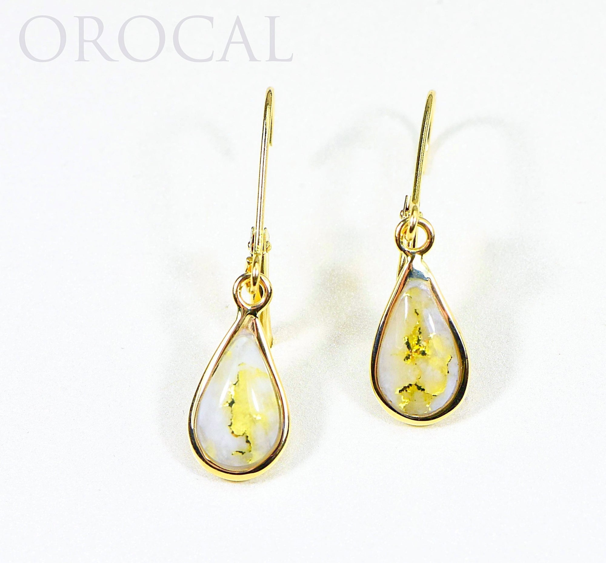 "Gold Quartz Earrings ""Orocal"" EN433Q/LB Genuine Hand Crafted Jewelry - 14K Gold Casting"