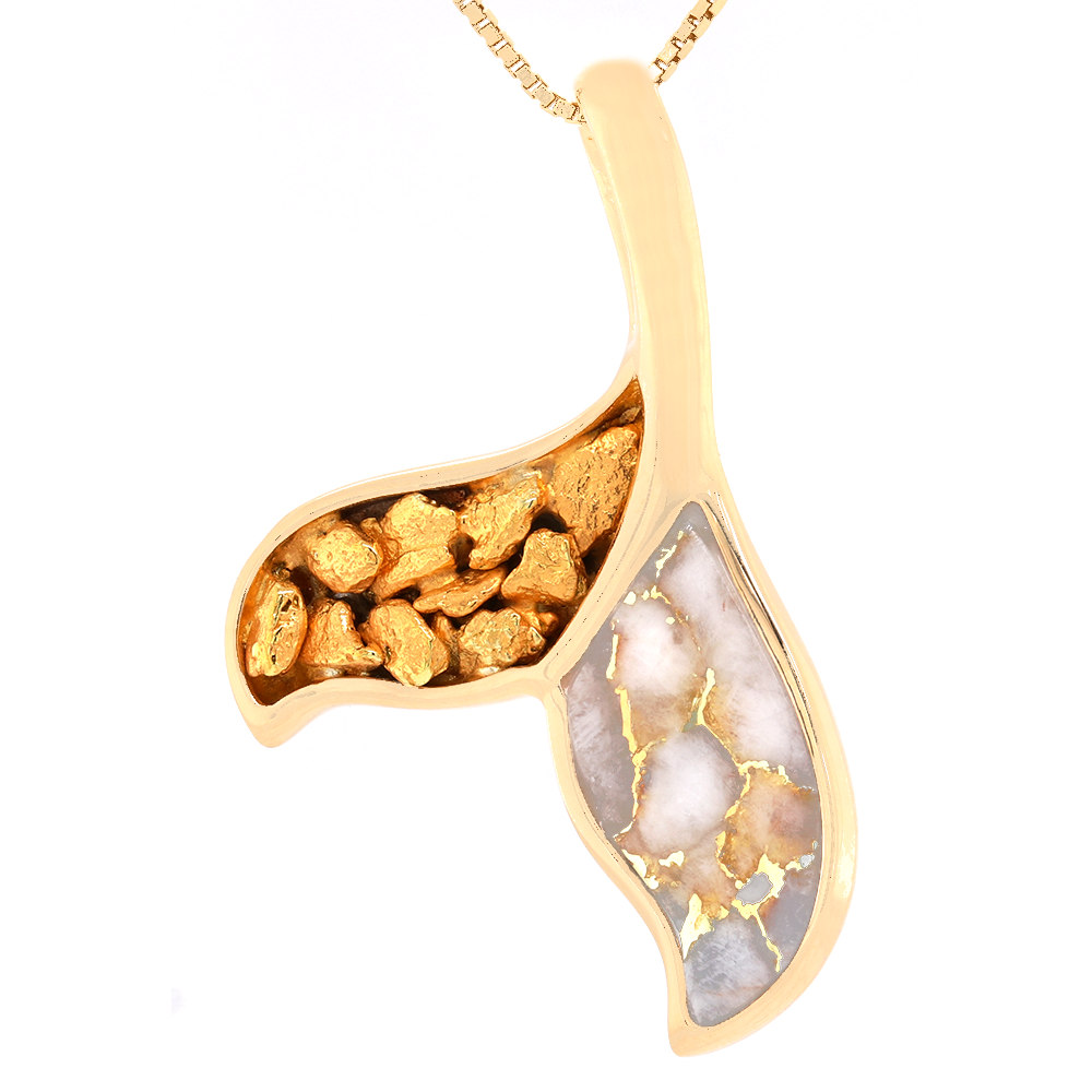 14kt Yellow Gold Whale Tail Natural Gold Quartz and Natural Gold Nugget Pendant
