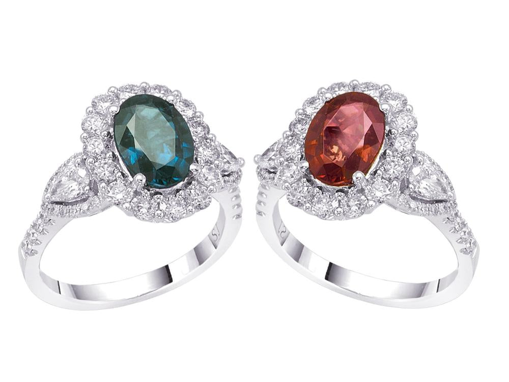 18kt White Gold gold ring with a GIA certified alexandrite